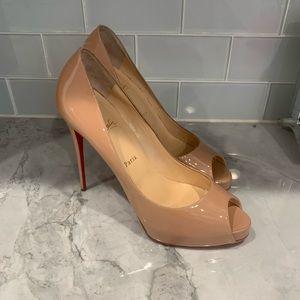 Christian Louboutin peep toe nude heels